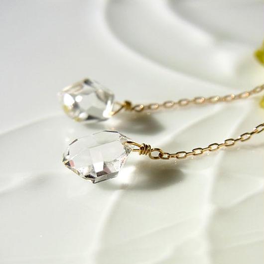 K18製*ハーキマーダイヤモンド アメリカンチェーンピアス