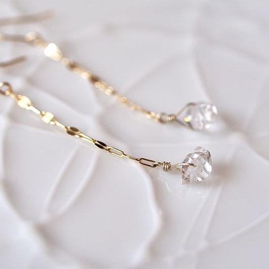 K10製*ハーキマーダイヤモンドの揺れるピアス