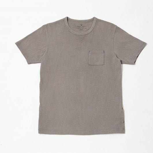 USAコットン16/-吊り編み天竺×天然染料染めポケットTシャツ 鈍色