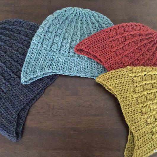【4サイズ展開】耳当て付き引き上げ編みのニット帽