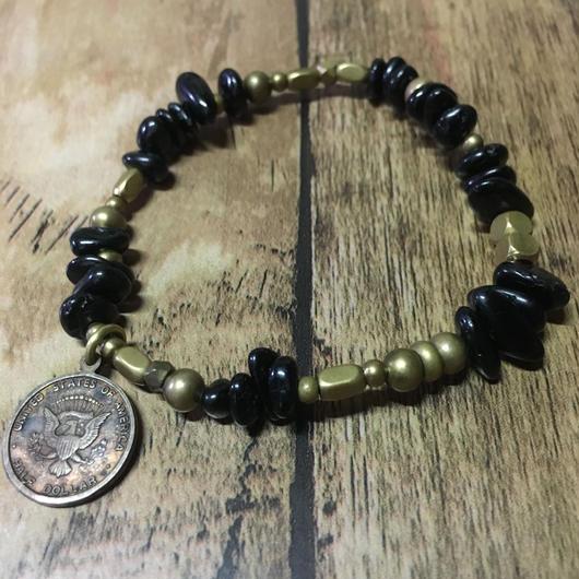 ブラックトルマリン 真鍮  アンティーク系 ブレス/SALE