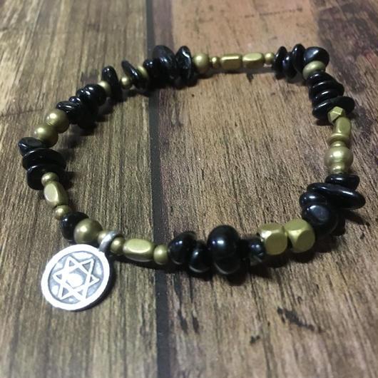 ブラックトルマリン 真鍮 アンティーク系 ブレス/SALE 2