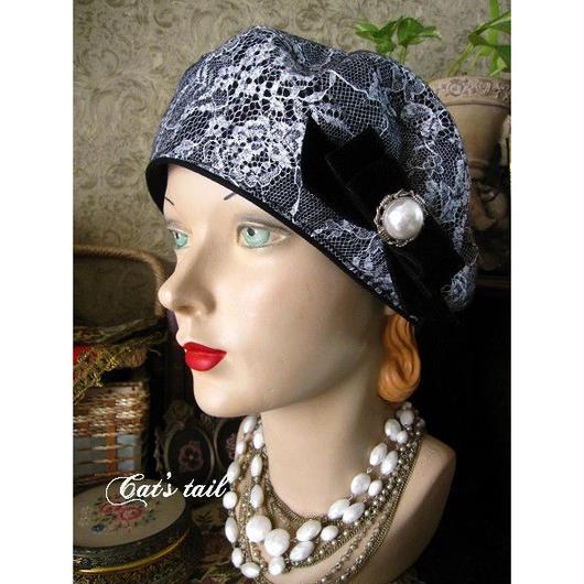 ウール&レースのお嬢様風ベレー帽・一点物