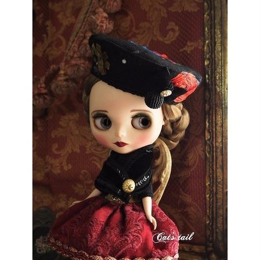 ドールサイズ・上質刺繍生地のクラシカルベレー帽