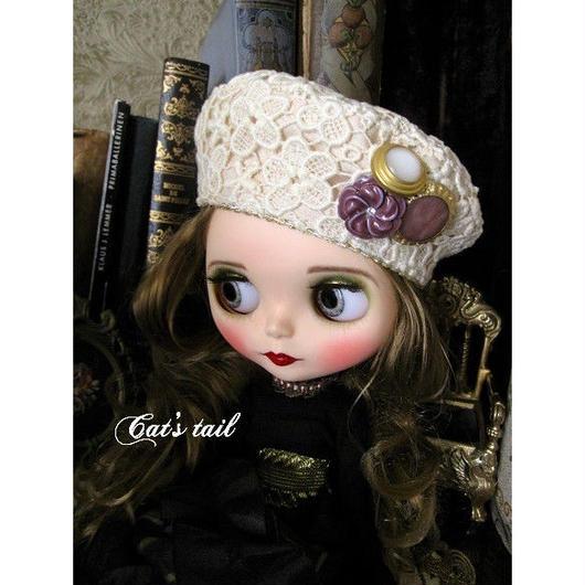 ドールサイズ・ケミカルレースのベレー帽2