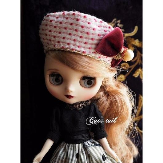 ミディサイズ・ピンクのベレー帽