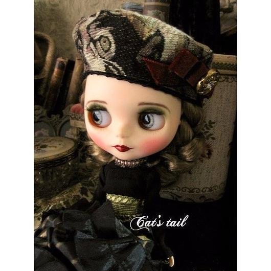 ドールサイズ・猫柄ゴブランベレー帽
