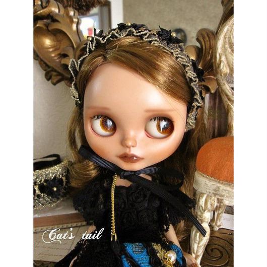 ドール用・ゴールド系・お花のヘッドドレス