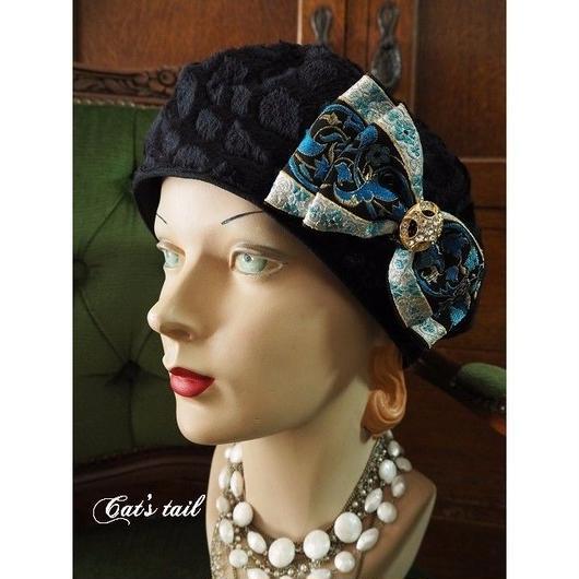 一点物・フランスリボンのクラシカルベレー帽