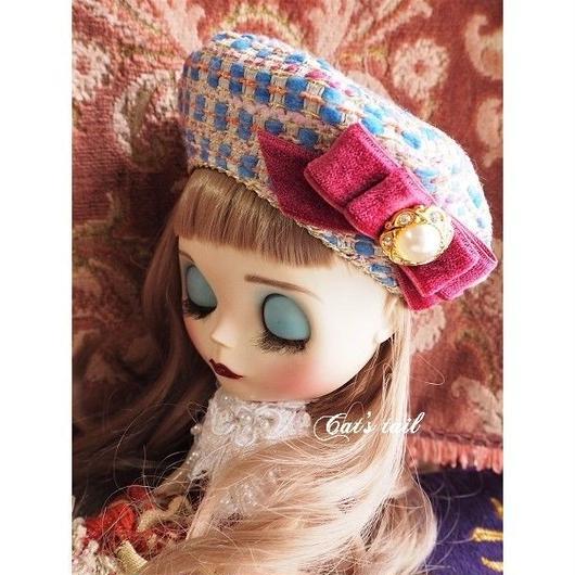 ドールサイズ・イタリアツイードのベレー帽・一点物