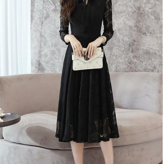 【即納OK!!】レースリボンタイブラックドレス