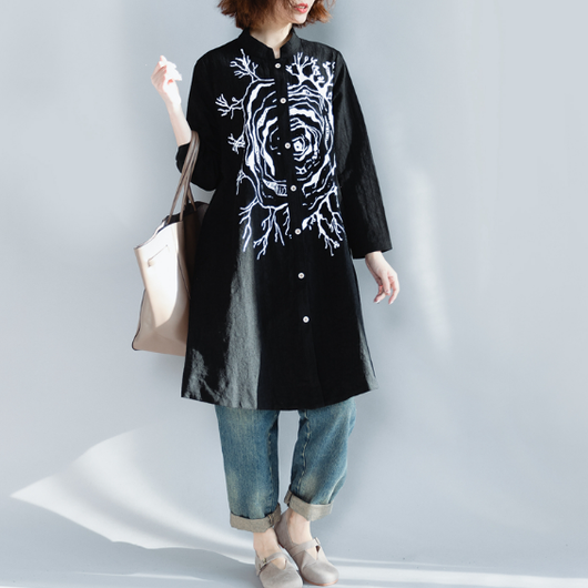【即納OK!!】スタンドカラーブラックシャツ