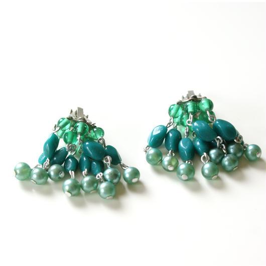 JAPAN日本製 ブルー グリーン パール ガラスビーズ シャンデリア イヤリング  / ヴィンテージ・コスチュームジュエリー