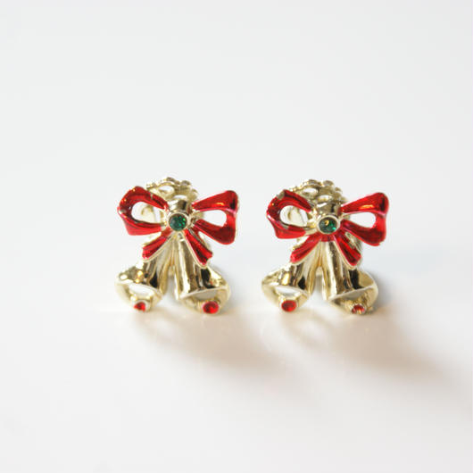 Christmas Special price【スペシャルプライス】ベル エナメル リボン イヤリング / ヴィンテージアクセサリー
