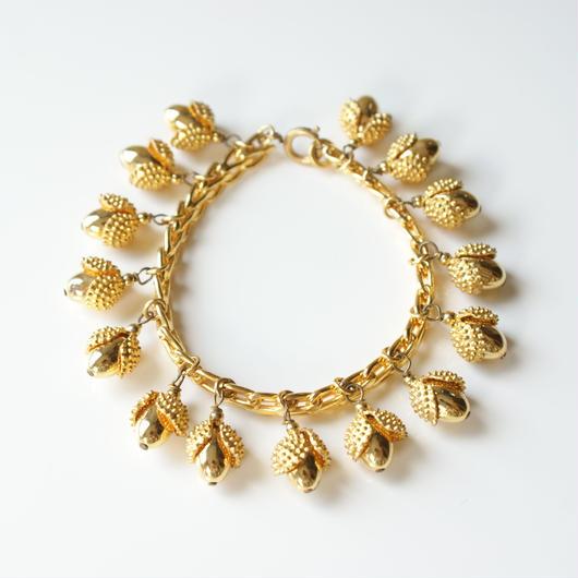 どんぐりゴールド ブレスレット / ヴィンテージ・コスチュームジュエリー