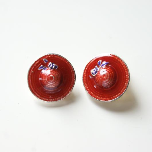 Special price【スペシャル プライス】レッドエナメル帽子イヤリングヴィンテージアクセサリー