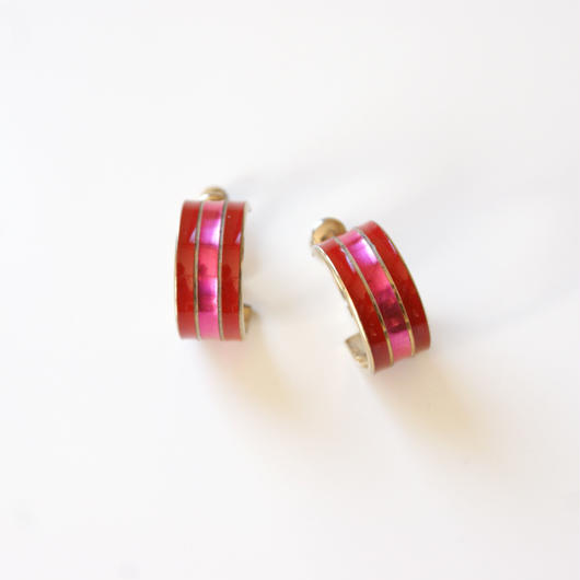 レッド ピンク エナメル ストライプライン フープイヤリング / ヴィンテージアクセサリー