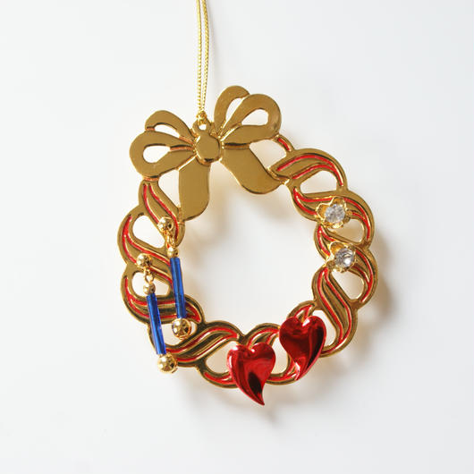 Christmas Special price【スペシャルプライス】AVONエイボンリース ピアス ホルダー クリスマス オーナメント ブルーガラス ハート フラワー ピアス 3点セット