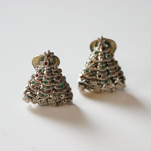 Christmas Special price【スペシャルプライス】クリスマスツリー プレゼント シルバートーン イヤリング / ヴィンテージジュエリー・アクセサリー