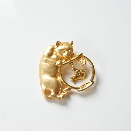 JJジェイジェイ 猫 キャット ゴールド ブローチ / ヴィンテージ・コスチュームジュエリー