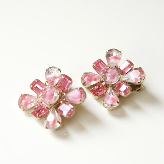 ピンク ラインストーン フラワー イヤリング / ヴィンテージ・コスチュームジュエリー