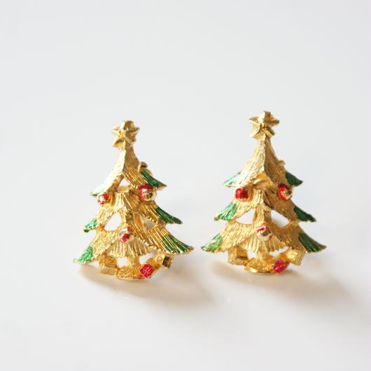 Christmas Special price【スペシャルプライス】クリスマスツリー エナメル イヤリング / ヴィンテージジュエリー・アクセサリー