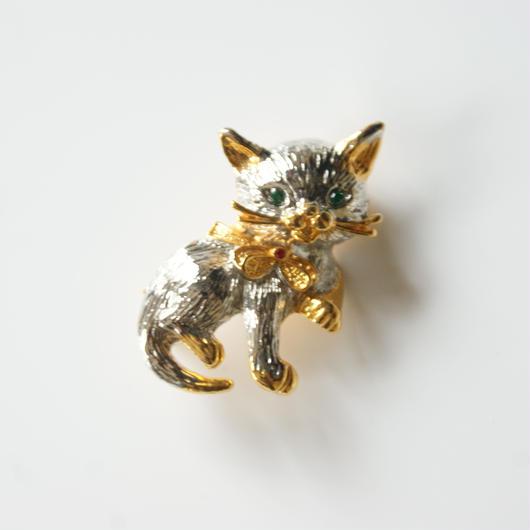 Special price【スペシャル プライス】猫 キャット シルバー ゴールド コンビ ブローチ / ヴィンテージ・コスチュームジュエリー