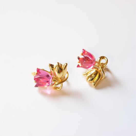 TRIFARIトリファリ ピンク ルーサイト チューリップ イヤリング / ヴィンテージ・コスチュームジュエリー