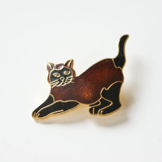 Special price【スペシャル プライス】黒猫 エナメル ブローチ/ ヴィンテージアクセサリー