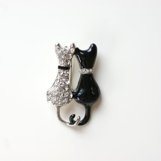ヴィンテージ 白黒 カップル猫キャット / ラインストーン エナメル ブローチ