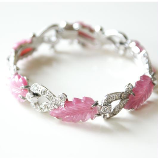 アール・デコ スタイル ピンク ルーサイト リーフ ラインストーン ブレスレット / ヴィンテージ・コスチュームジュエリー