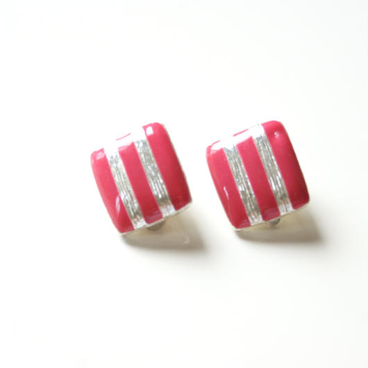 Special price【スペシャル プライス】ピンク エナメル ストライプ イヤリング / ヴィンテージアクセサリー