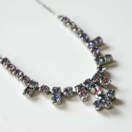 アイリス ガラス ピンク ブルー グリーン フラワー ネックレス/ヴィンテージ・ アンティークジュエリー