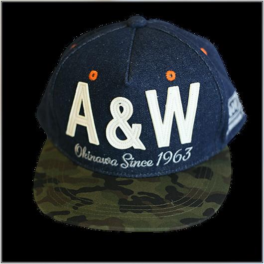 A&W文字フラットキャップ:カモフラ柄