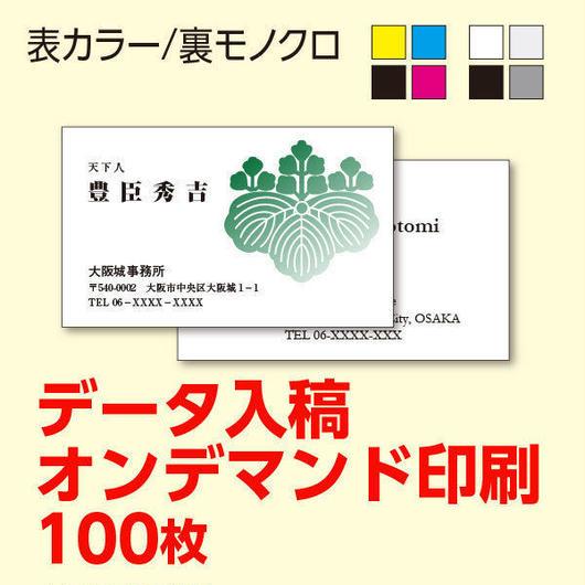 名刺・カード★表面カラー/裏面モノクロ<100枚>オンデマンド印刷★データ入稿