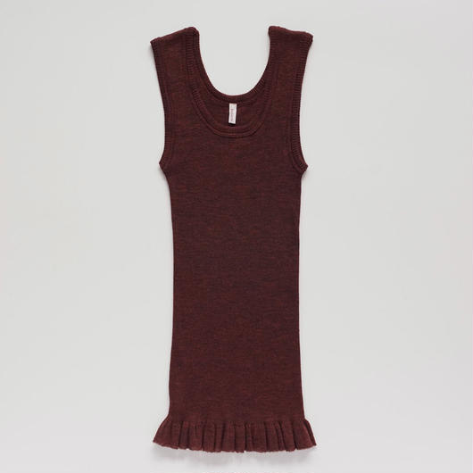 wool fine ribbed tank-top (burgundy)