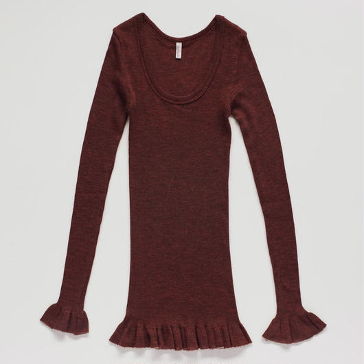 wool fine ribbed long sleeve (burgundy)
