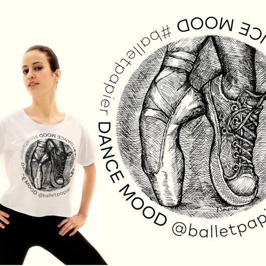 【予約販売】クロップ丈Tシャツ・DANCE MOOD(本体価格:¥3000)