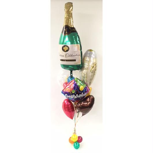 コングラッツワインボトル ヘリウムブーケ