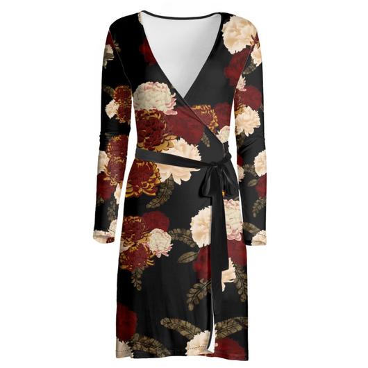 和風菊と牡丹 ラップドレス・マキシワンピース