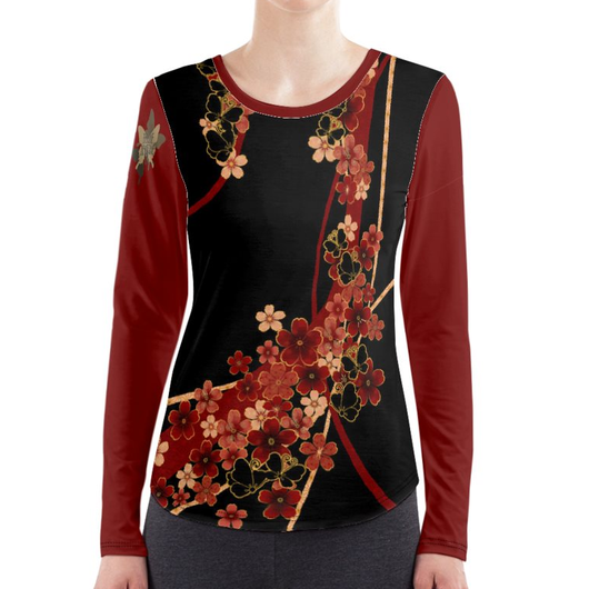 Flower and Butterfly long sleeve T-shirt