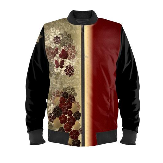桜家紋と蝶家紋 紅 ボンバージャケット・ブルゾン