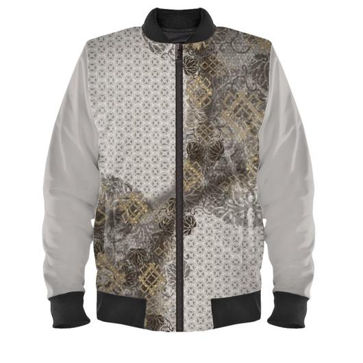 silver emblem design Men's Bomber Jacket