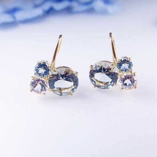 Bubble earrings(グリーンクォーツ/ホワイトトパーズ/スカイブルートパーズ)