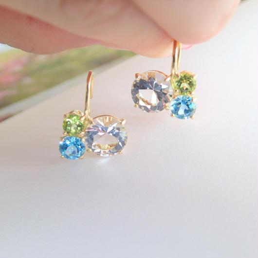 Bubble earrings(クリアクォーツ/ブルートパーズ/ペリドット)