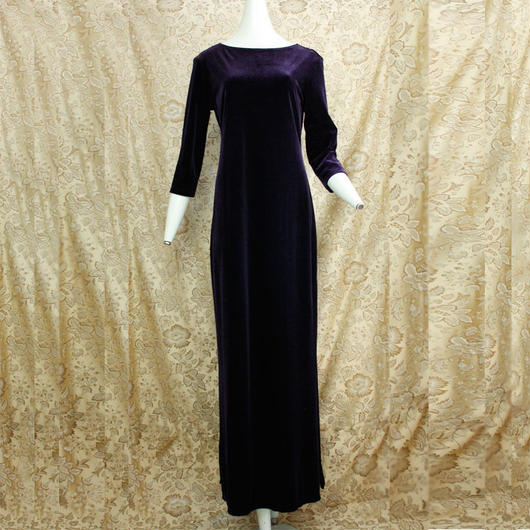 1980's Vintage Dark Purpule Velvet Onepiece