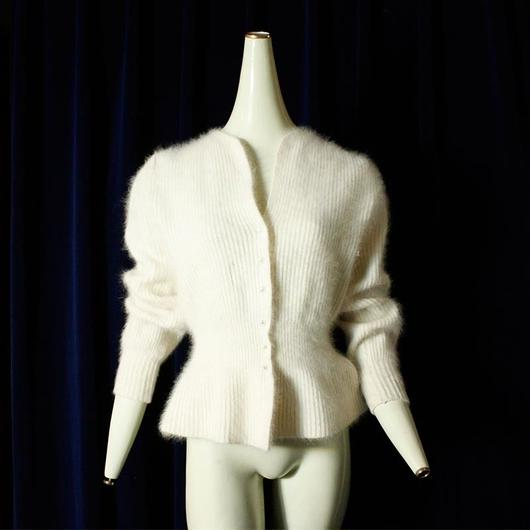 White Mohair Knit Cardigan