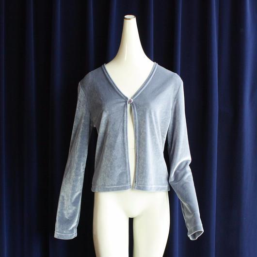 Vintage Velour Sax Blue Cardigan