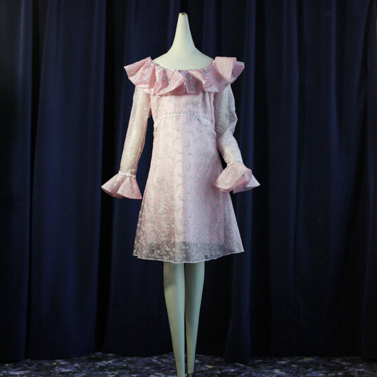 1970's Vintage Pretty Pink Frill Dress