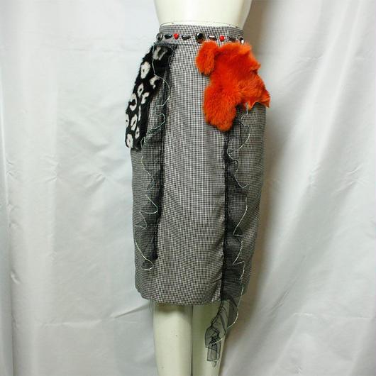 【bed】Houndstooth Check Remake Fur Skirt